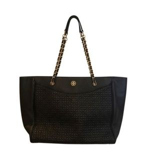 Tori Burch Black Leather Quilted Bryant Tote